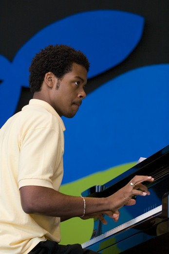 Pianist performs with the NEXT GENERATION ORCHESTRA at THE MONTEREY JAZZ FESTIVAL : Stock Photo