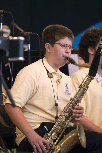 Saxophonist performs with the NEXT GENERATION ORCHESTRA at THE MONTEREY JAZZ FESTIVAL : Stock Photo