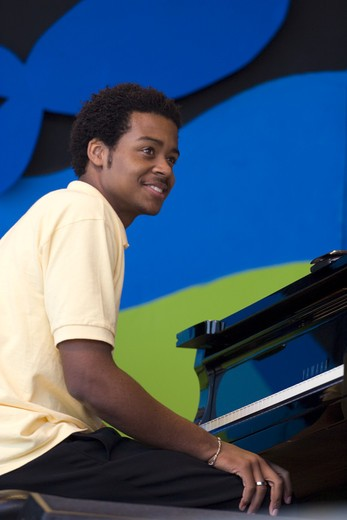 Stock Photo: 1886-54071 Pianist performs with the NEXT GENERATION ORCHESTRA at THE MONTEREY JAZZ FESTIVAL