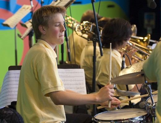 Drummer performs with The NEXT GENERATION ORCHESTRA at THE MONTEREY JAZZ FESTIVAL : Stock Photo