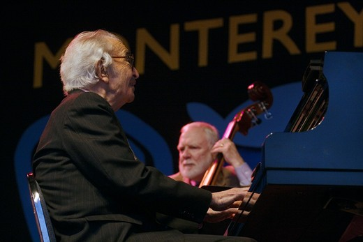 Stock Photo: 1886-54096 DAVE BRUBECK (Piano), MICHAEL MOORE (Bass) perform the CANNERY ROW SUITE at THE MONTEREY JAZZ FESTIVAL