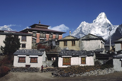 Stock Photo: 1886-54122 Thyangboche Monastery is the Sherpa's main religeous & cultural center - This structure burned in 1989 & is being rebuilt - Khumbu District , NEPAL