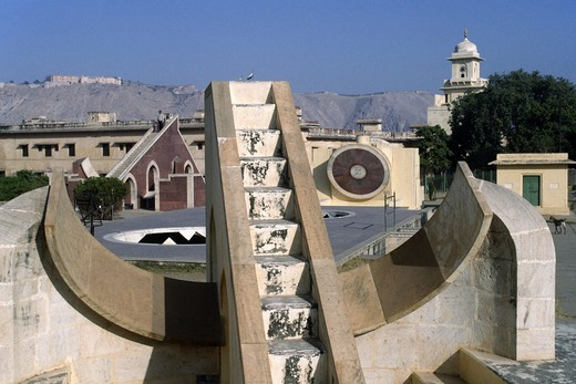 Stock Photo: 1886-54723 SUNDIAL at the JAIPUR OBSERVATORY (Jantar Mantar), built in 1728 - RAJASTHAN, INDIA
