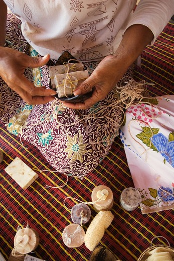 Hand made soap is made in a women's cooperative in the village of Ban Talae Nok, a project funded by North Andaman Tsunami Relief - THAILAND : Stock Photo