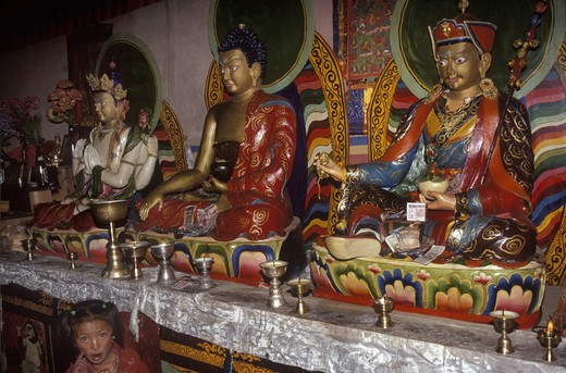 BUDDHIST STATUES in the MILAREPA CAVE at ZUTRUL PHUK OR ZUTHRUL PHUG MONASTERY - MOUNT KAILASH, TIBET : Stock Photo