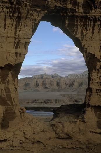 Stock Photo: 1886-55385 CAVE DWELLING WINDOW near THOLING date back to the 10th C. in the GUGE KINGDOM west of KAILASH - TIBET