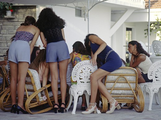Stock Photo: 1886-55477 Models in the Miss Bellisima contest practice at the Hotel Kismet in the town of KUSADASI - TURQUOISE COAST