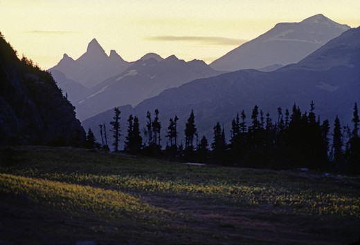 SUNSET in the ROCKY MOUNTAINS - WATERTON GLACIER INTERNATIONAL PEACE PARK, MONTANA : Stock Photo