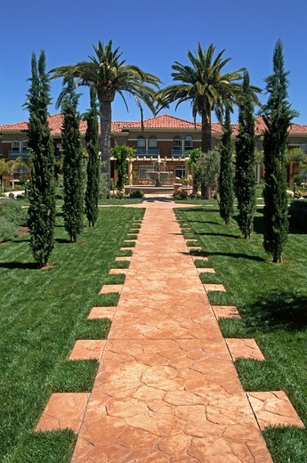 Stock Photo: 1886-55949 VILLA VENETO - PALM TREES, walkway and FOUNTAIN at an apartment complex in SILICON VALLEY - SAN JOSE, CALIFORNIA