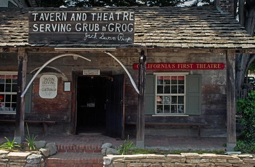 Stock Photo: 1886-56381 The historic CALIFORNIA'S FIRST THEATRE still hosts plays & events - MONTEREY, CALIFORNIA