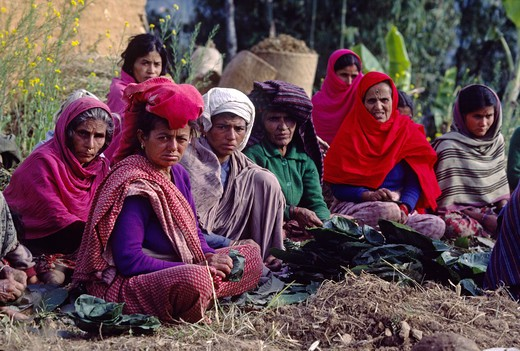 Stock Photo: 1886-56445 NEPALI women - SIKLIS, NEPAL HIMALAYA village, NEPAL