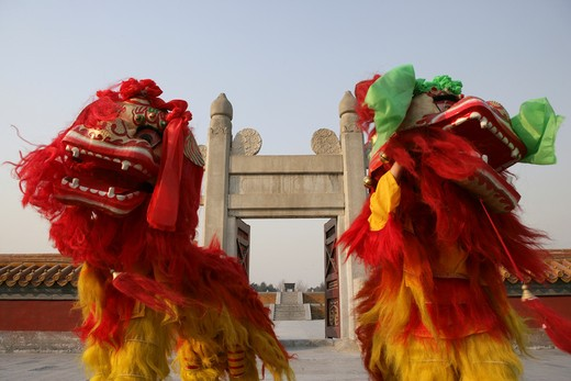 Chinese Lion Dancing In Temple Of Heaven : Stock Photo