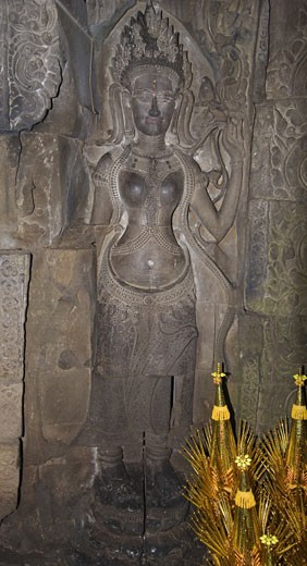 Stock Photo: 1886-5882 Hidden statue of a Hindu Queen at Preah Khan built by Jayavarman VII & VIII in the 12th & 13th centuries - Angkor Wat, Siem Reap, Cambodia