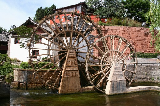 Stock Photo: 1886-59452 Mill Wheel,Lijiang,Yunnan