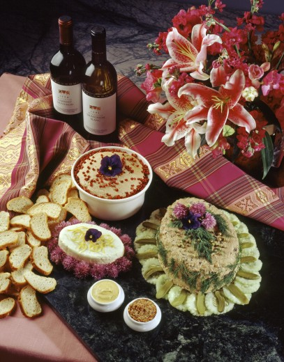 Stock Photo: 1886-6113 CHICKEN  & VEAL PATE with SHITAKE MUSHROOMS with Creamed Lemon FETA & Potted PORK DEGAN