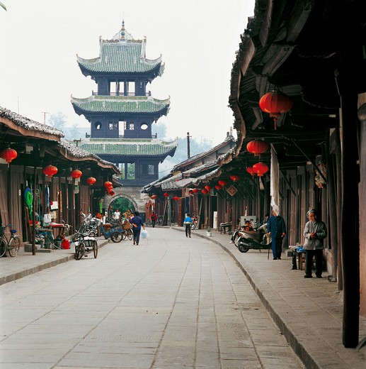 street and civilian houses ornamented by red lanterns at old town in Langzhong,Sichuan,China : Stock Photo