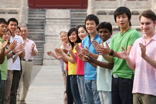 Stock Photo: 1886-61926 people from different countries being together in the Forbidden city,beijing,china