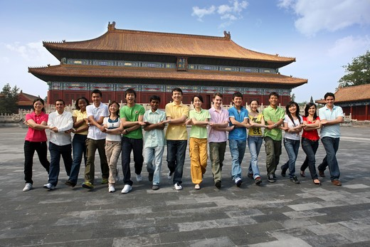 Stock Photo: 1886-61933 people from different countries being together in the Forbidden city,beijing,china