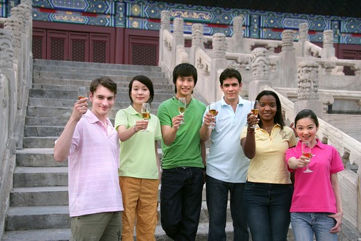 people from different countries toasting,beijing : Stock Photo