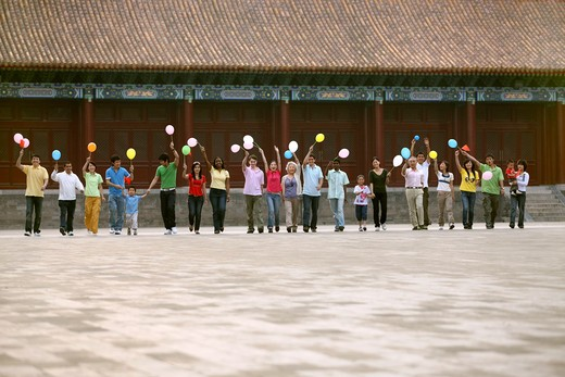 Stock Photo: 1886-61974 people from different countries being together in the Forbidden city,beijing,china
