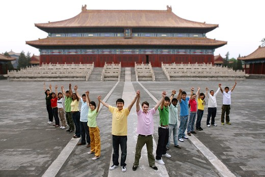Stock Photo: 1886-61976 people from different countries being together in the Forbidden city,beijing,china