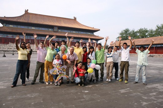 Stock Photo: 1886-61985 people from different countries being together in the Forbidden city,beijing,china