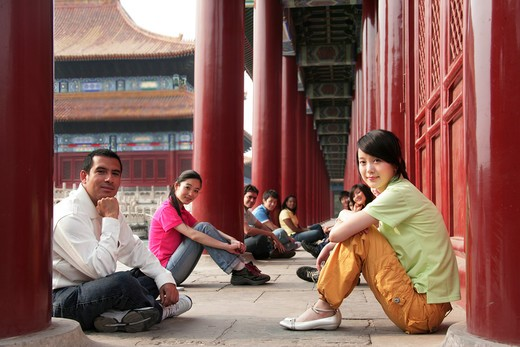 Stock Photo: 1886-62448 people from different countries being together in the Forbidden city,beijing,china