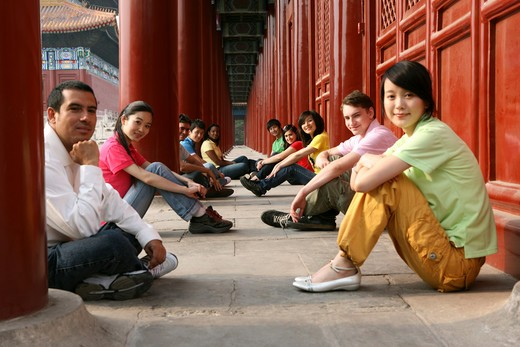 Stock Photo: 1886-62458 people from different countries being together in the Forbidden city,beijing,china