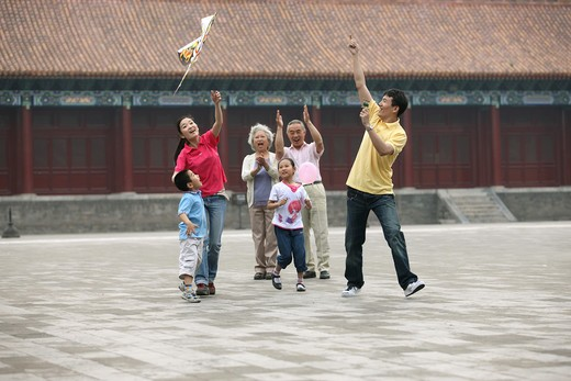 Stock Photo: 1886-62461 people from different countries being together in the Forbidden city,beijing,china