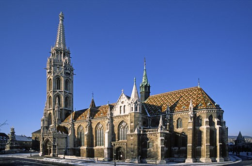 Stock Photo: 1886-6261 Situated atop CASTLE HILL is MATTHIAS CHURCH rebuilt in 1896 with its colourful tiled roof - BUDAPEST, HUNGARY