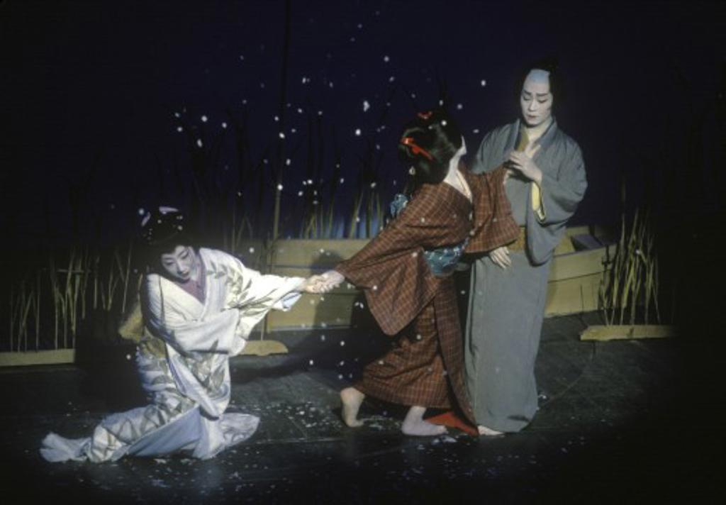 The POTOCHO ODORI (MAIKO DANCERS) preform at the PONTOCHO KOBERENJE THEATRE - KYOTO, JAPAN : Stock Photo