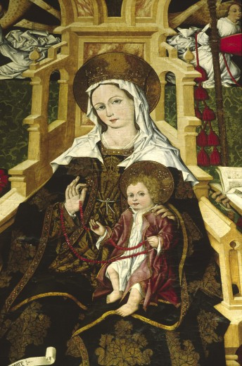 PAINTING of MADONNA & CHILD in SEVILLA'S CATHEDRAL which is the worlds largest GOTHIC CHURCH - SPAIN  : Stock Photo