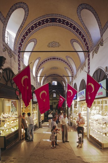The Covered Bazaar of Istanbul; the World's largest with 4,000 shops and half a million daily shoppers - Turkey : Stock Photo