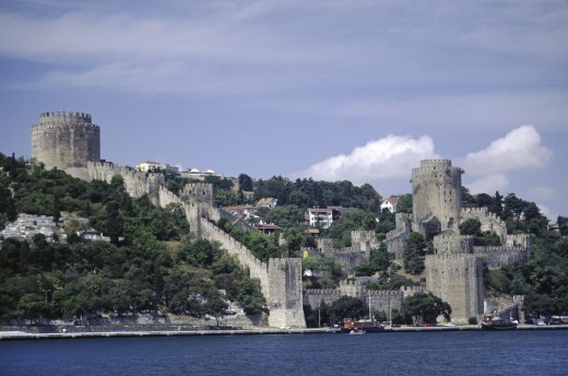Stock Photo: 1886-7307 RUMELI HISARI CASTLE on the BOSPHOROUS (the waterway which joins the Mediterranean & the Black Sea) - Istanbul, Turkey