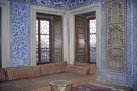 Stock Photo: 1886-7312 Interior of beautiful sitting room which overlooks the Bosphorous - Topkapi Palace, Istanbul, Turkey