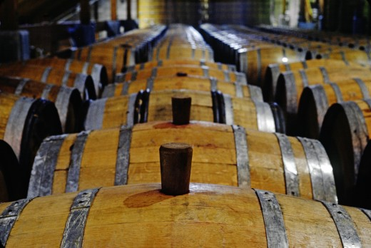 Overview of wine aging in OAK BARRELS at FIRESTONE VINEYARD - CALIFORNIA : Stock Photo