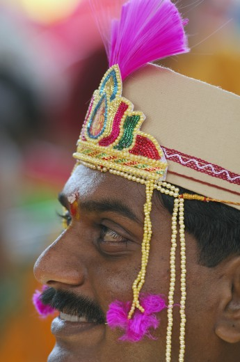 Stock Photo: 1886R-25362 Indian Hindu bridegroom wearing traditional cap with mundavalya strings of pearls in marriage ceremony ; Bombay Mumbai ; Maharashtra ; India MR#705U