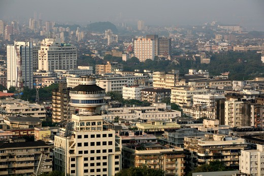 Stock Photo: 1886R-25402 Aerial view of art deco building with hotel Ambassador ; Bombay Mumbai ; Maharashtra ; India
