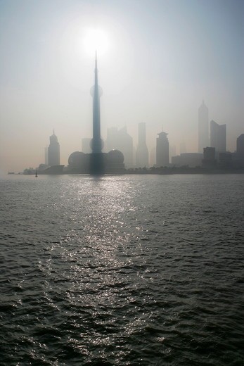 Stock Photo: 1886R-27984 Huangpu River and skyscrapers at Pudong,Shanghai,China