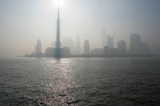 Stock Photo: 1886R-28030 Huangpu River and skyscrapers at Pudong,Shanghai,China
