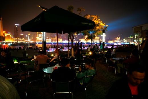 Stock Photo: 1886R-28032 restaurant at Pudong,Shanghai,China,night
