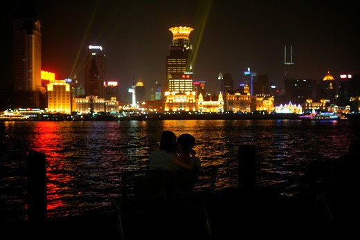 Stock Photo: 1886R-28037 night of the Bund and Huangpu River,Shanghai,China
