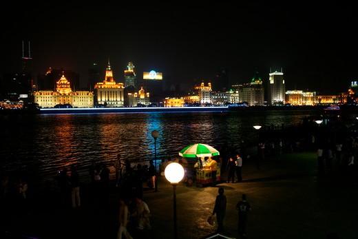 night of the Bund and Huangpu River,Shanghai,China : Stock Photo