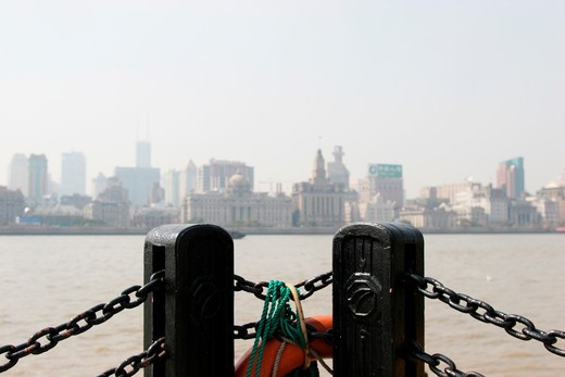 railing and the Bund,Shanghai,China : Stock Photo