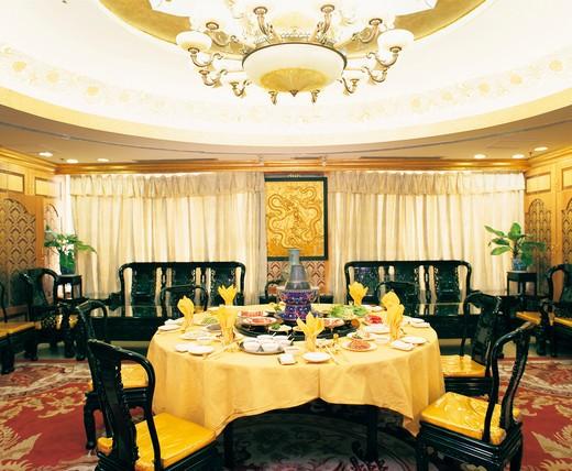 banquet of hot pot in restaurant : Stock Photo