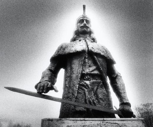 Statue Of Vlad Dracul, the Park, Tirgoviste, Romania : Stock Photo