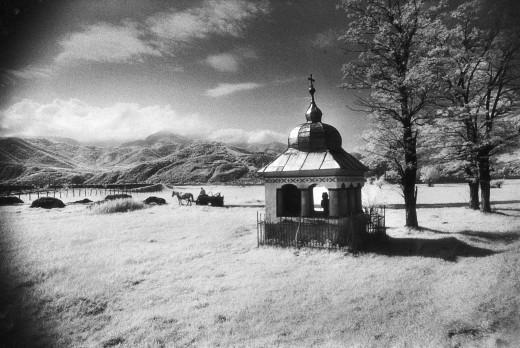 Roadside Shrine, entrance to the Carpathian Mountains, Romania : Stock Photo