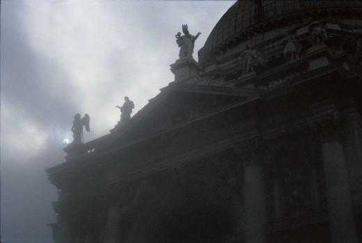 Statues on the roof of the Basilica of Santa Maria della Salute, Venice. Italy : Stock Photo