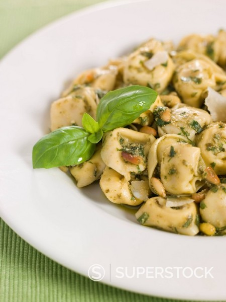Chicken and Mushroom Tortelinni with Pesto and Pine Nuts : Stock Photo