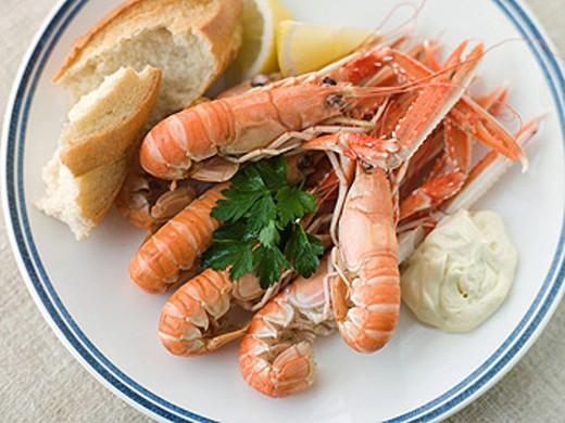 Langouste with Garlic Mayonnaise Lemon and Crusty baguette : Stock Photo